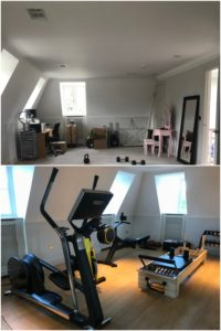 Before and after images of a home gym conversion project in Berkshire