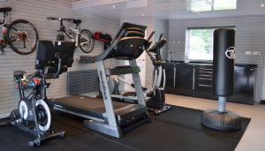 image showing set up of a garage converted to a gym